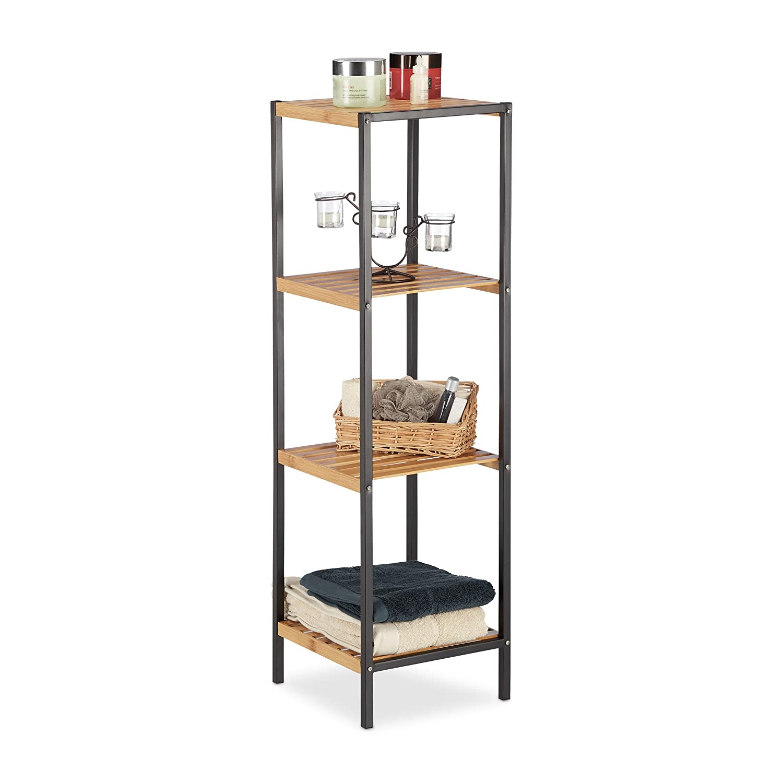 Relaxdays scaffale mobile 3 ripiani per bagno e cucina quadrato acciaio ebay - Scaffale per cucina ...