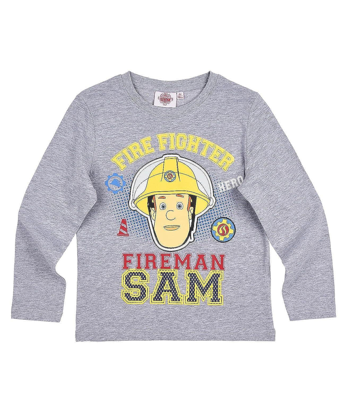Sam el bombero Chicos Camiseta Mangas largas - Gris: Amazon.es ...