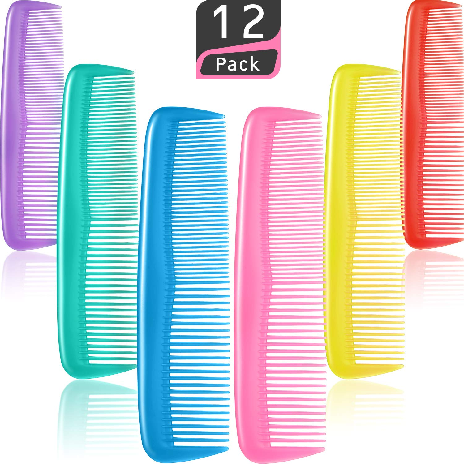 12 Pieces Colorful Hair Combs Set, Hair Combs Set, Hair Combs for Women and Men, Colorful Coarse, Fine Dressing Comb (12 Pieces)