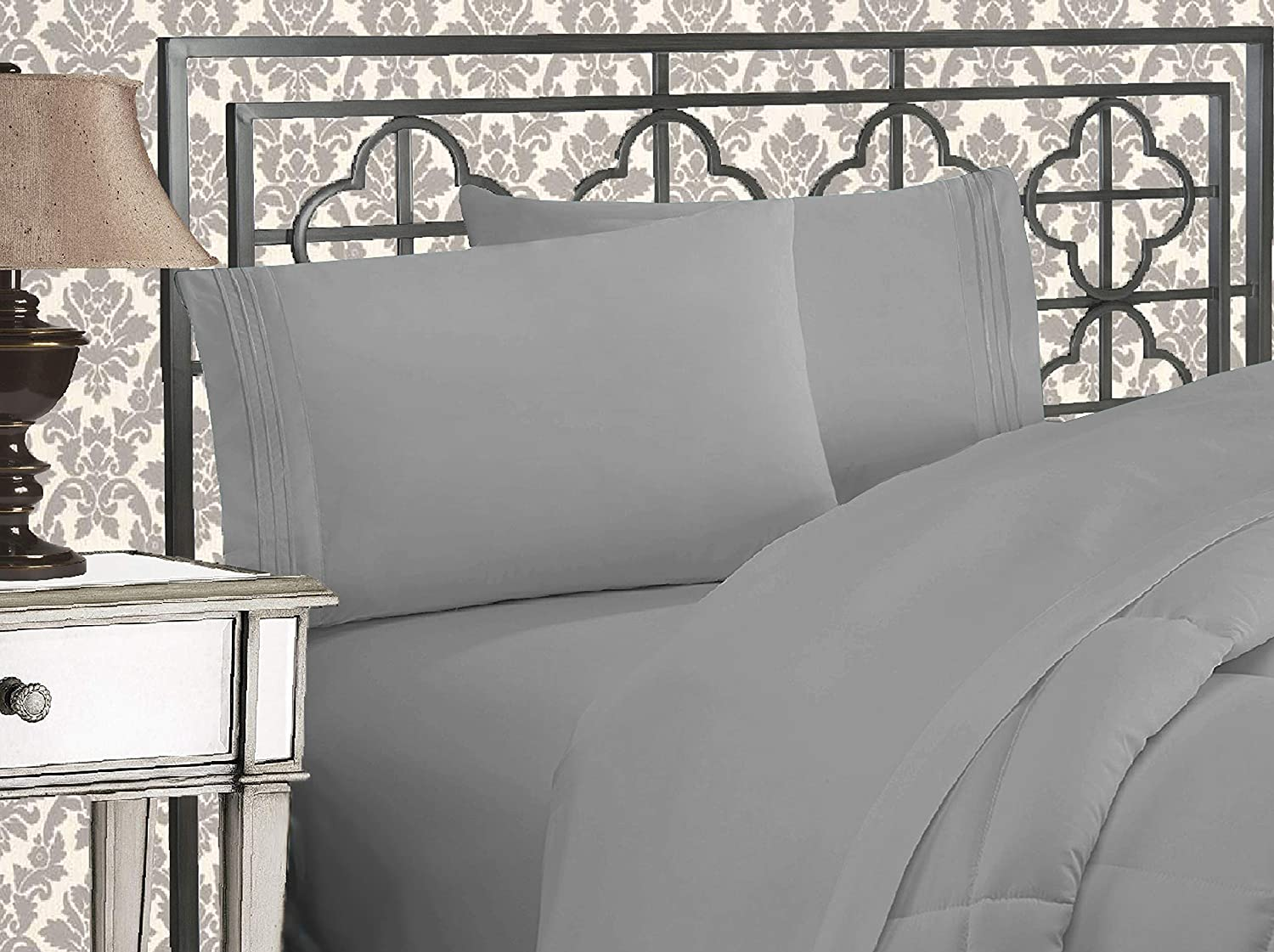 Elegant Comfort Luxurious 1500 Thread Count Egyptian Three Line Embroidered Softest Premium Hotel Quality 4-Piece Bed Sheet Set, Wrinkle and Fade Resistant, King, Silver-Light Grey