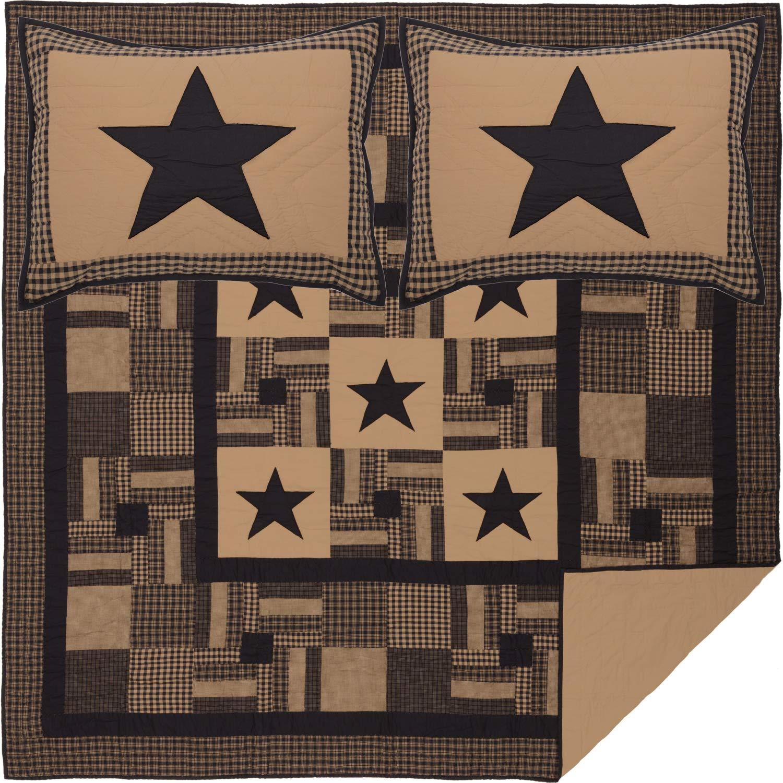 VHC Brands Primitive Bedding Check Cotton Pre-Washed Appliqued Star Sham Queen Quilt Set, Raven Black