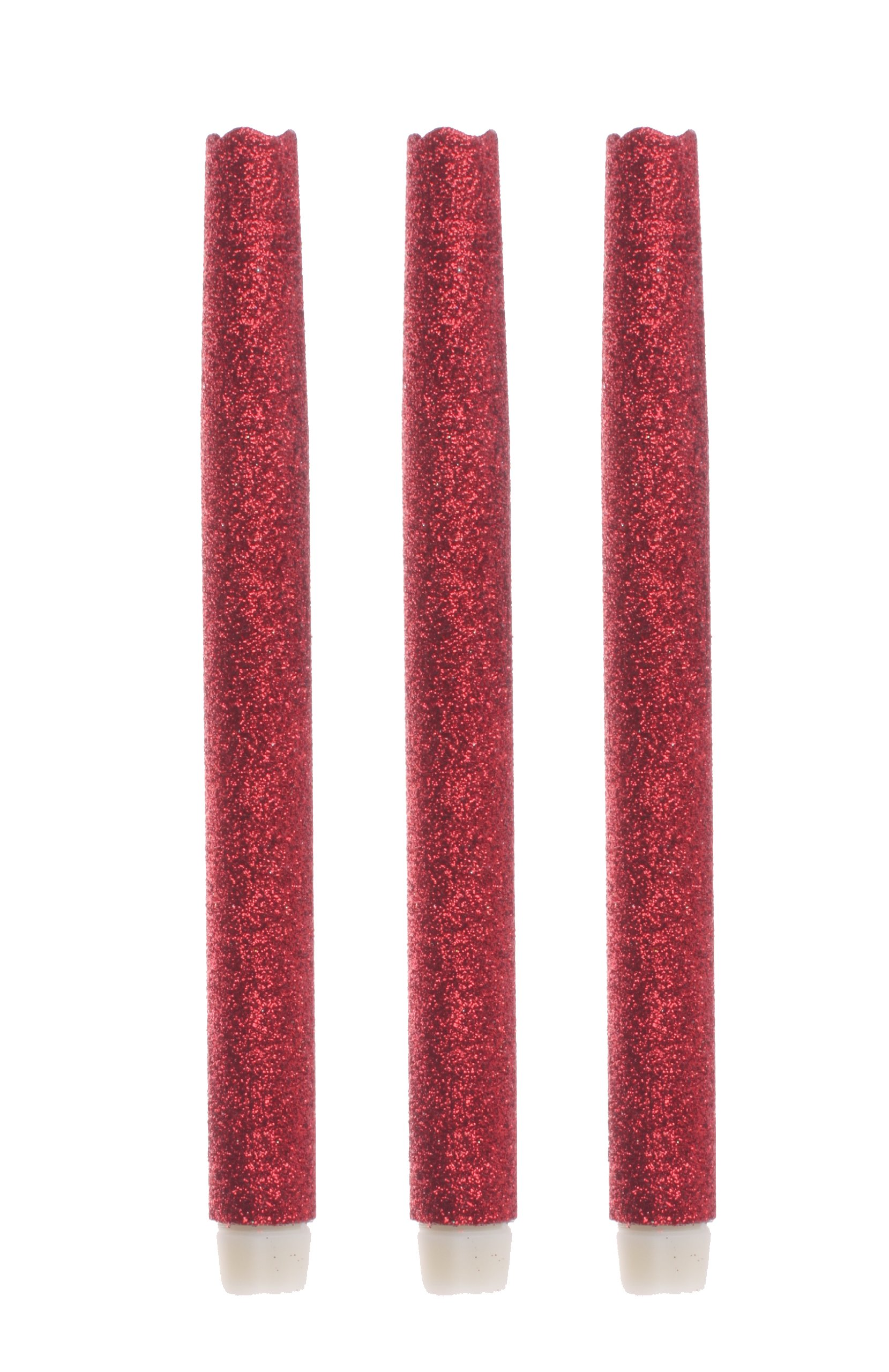 9'' LED Flameless Dripless Led Taper Candles with Timer Function, Battery Operated, Wedding Dinner Candle Set of 3 (Red Glitter)