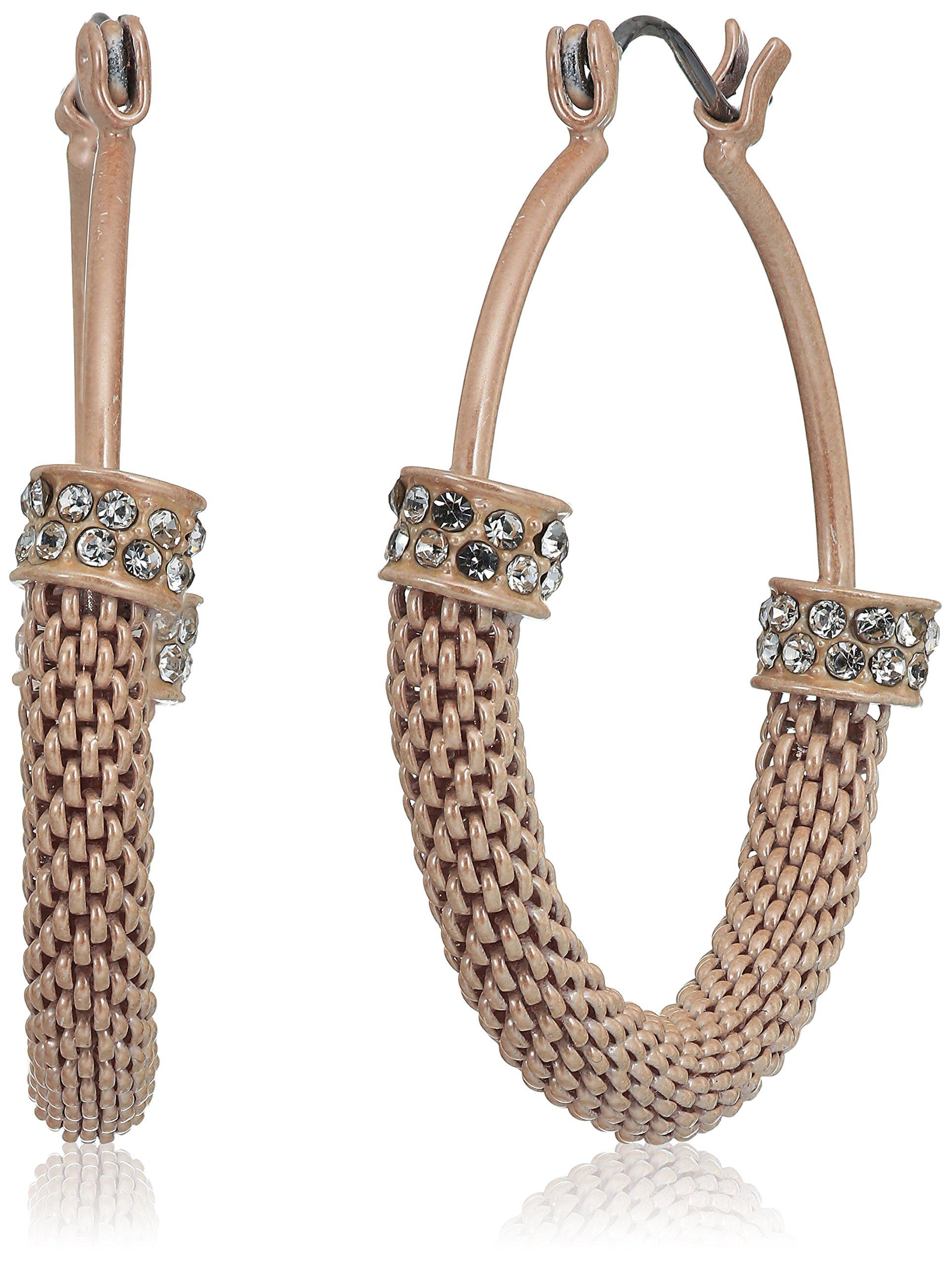 GUESS Womens Mesh Hoop Earrings Matte Blush/Crystal One Size