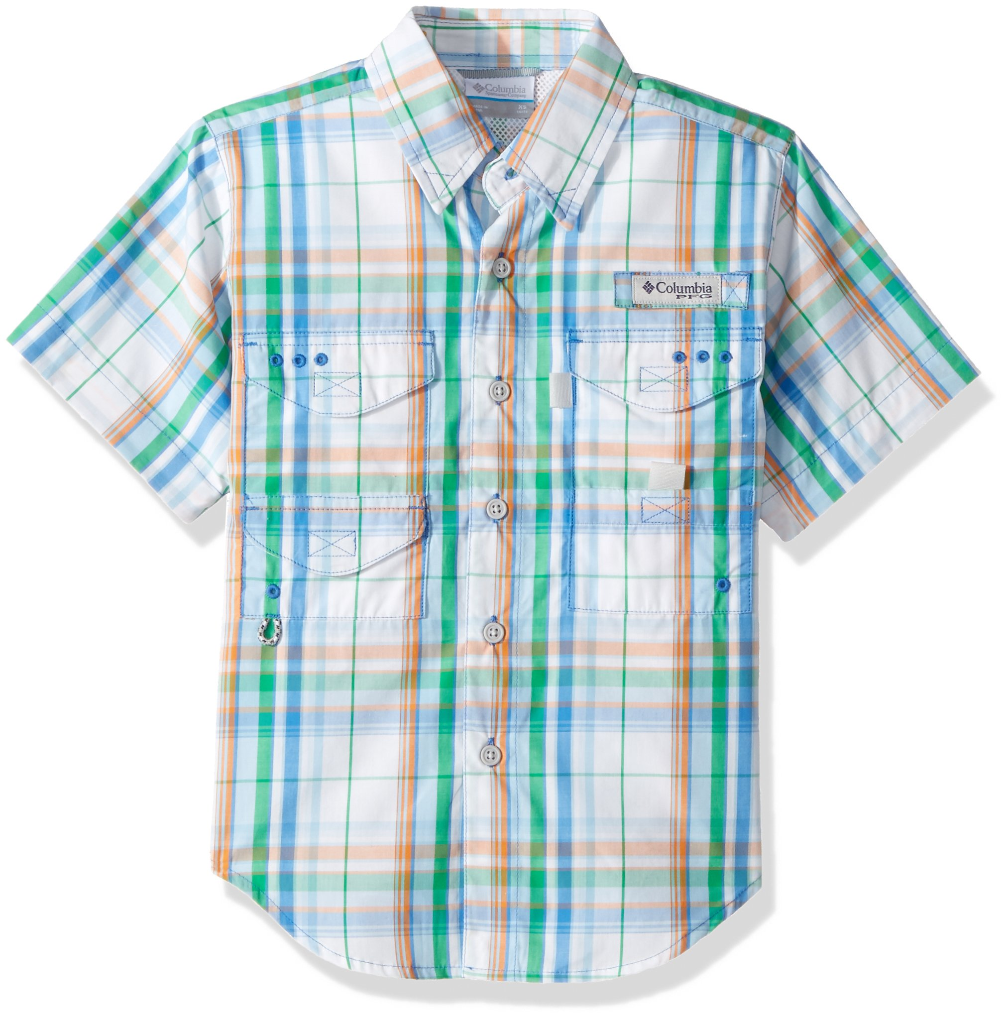 Columbia Youth Boys Super Bonehead Short Sleeve Shirt, Harbor Blue Plaid, Small