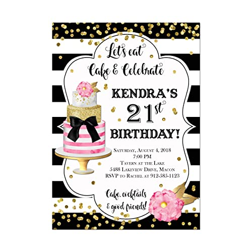Image Unavailable Not Available For Color Modern Cake Birthday Invitation In Black White And Gold