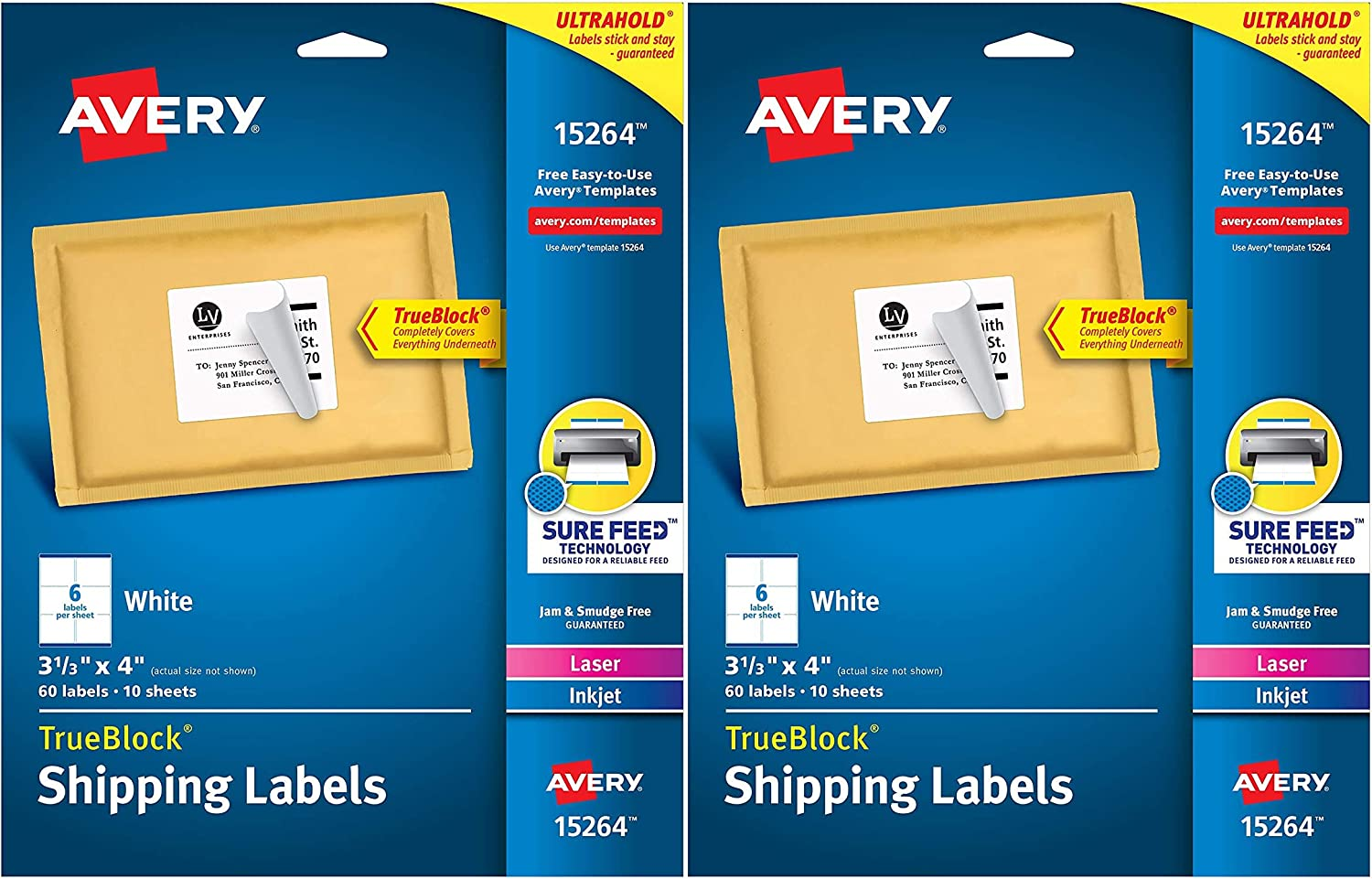 3-1//3x4 Labels Pack of 2 Avery Shipping Address Labels 60 Labels Laser /& Inkjet Printers 15264 Permanent Adhesive