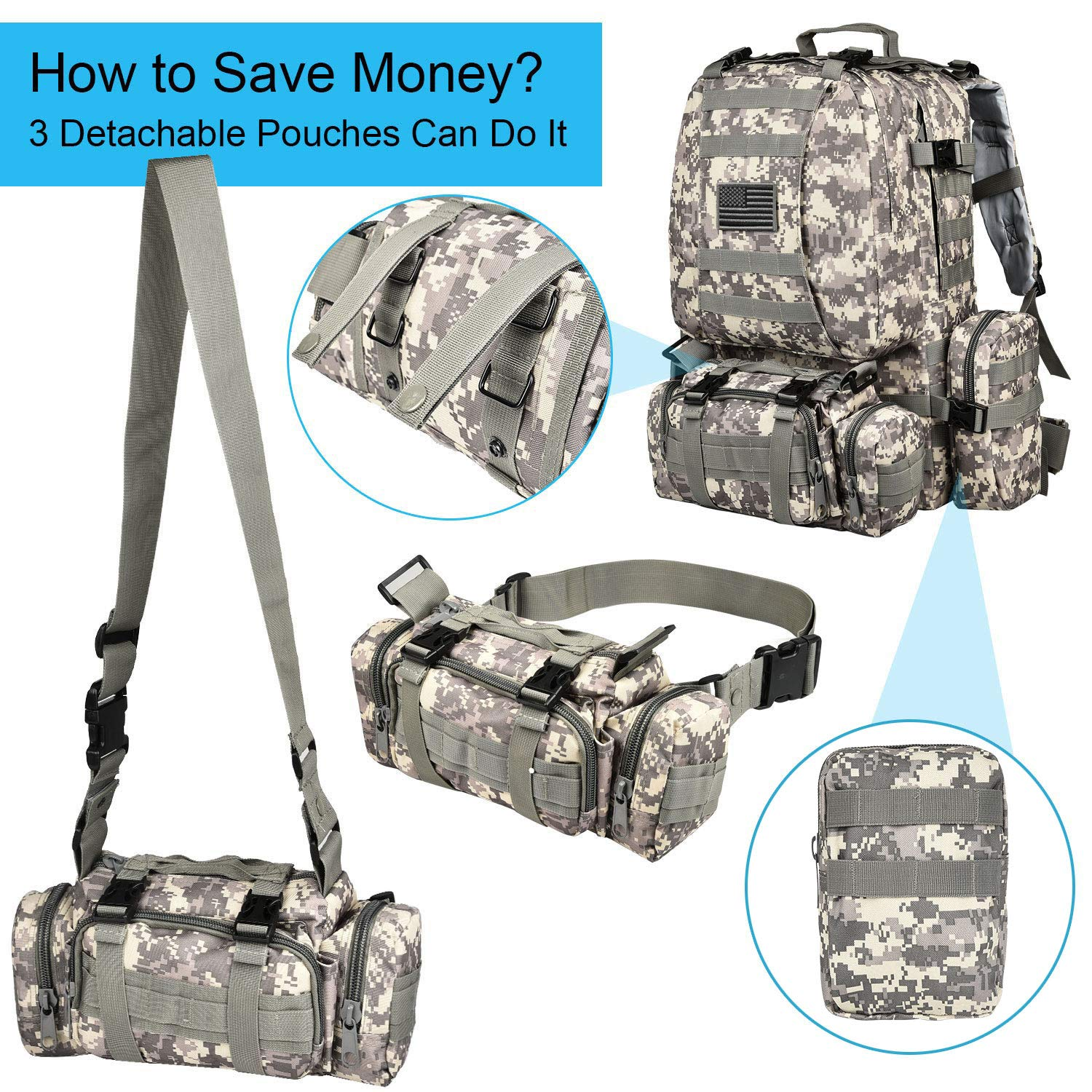 CVLIFE Tactical Military Backpack 60L Built-up Army Rucksacks Outdoor 3 Day Assault Pack Combat Molle Backpack for Hunting Hiking Fishing with Flag Patch Camouflage ACU by CVLIFE (Image #5)