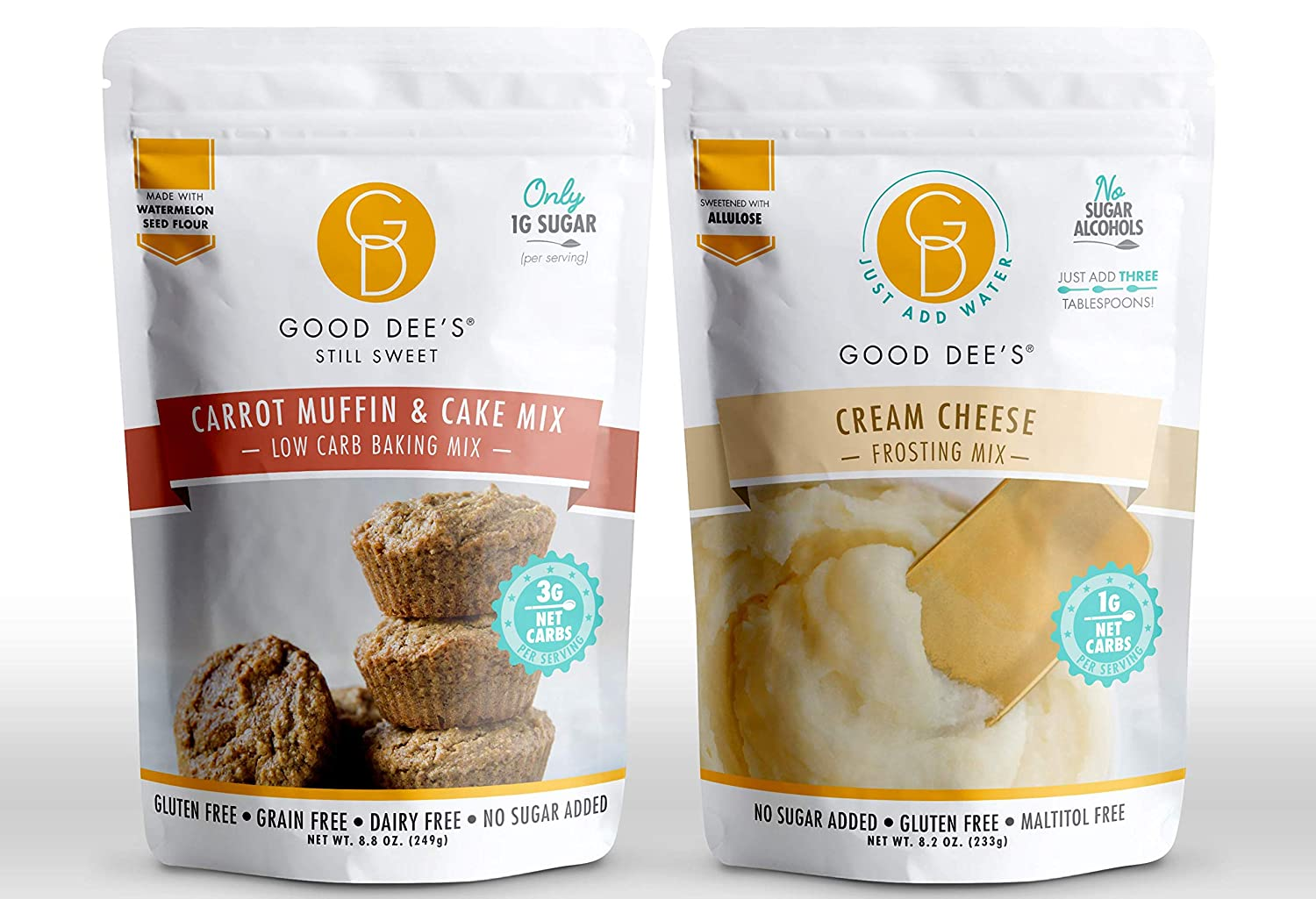 Good Dee's Just Add Water Cream Cheese Frosting Mix and Carrot Muffin & Cake Baking Mix