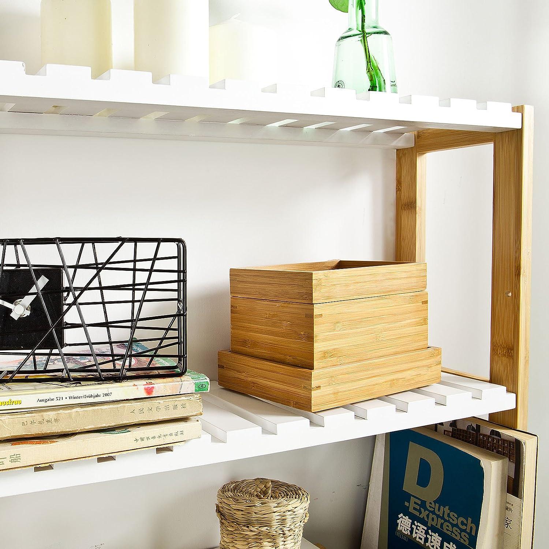 mensola bamb/ù,FRG27-WN,IT mensola da bagno B60xT15xH18cm soggiorno mensola officio scaffale pensile cucina SoBuy Mensola da parete
