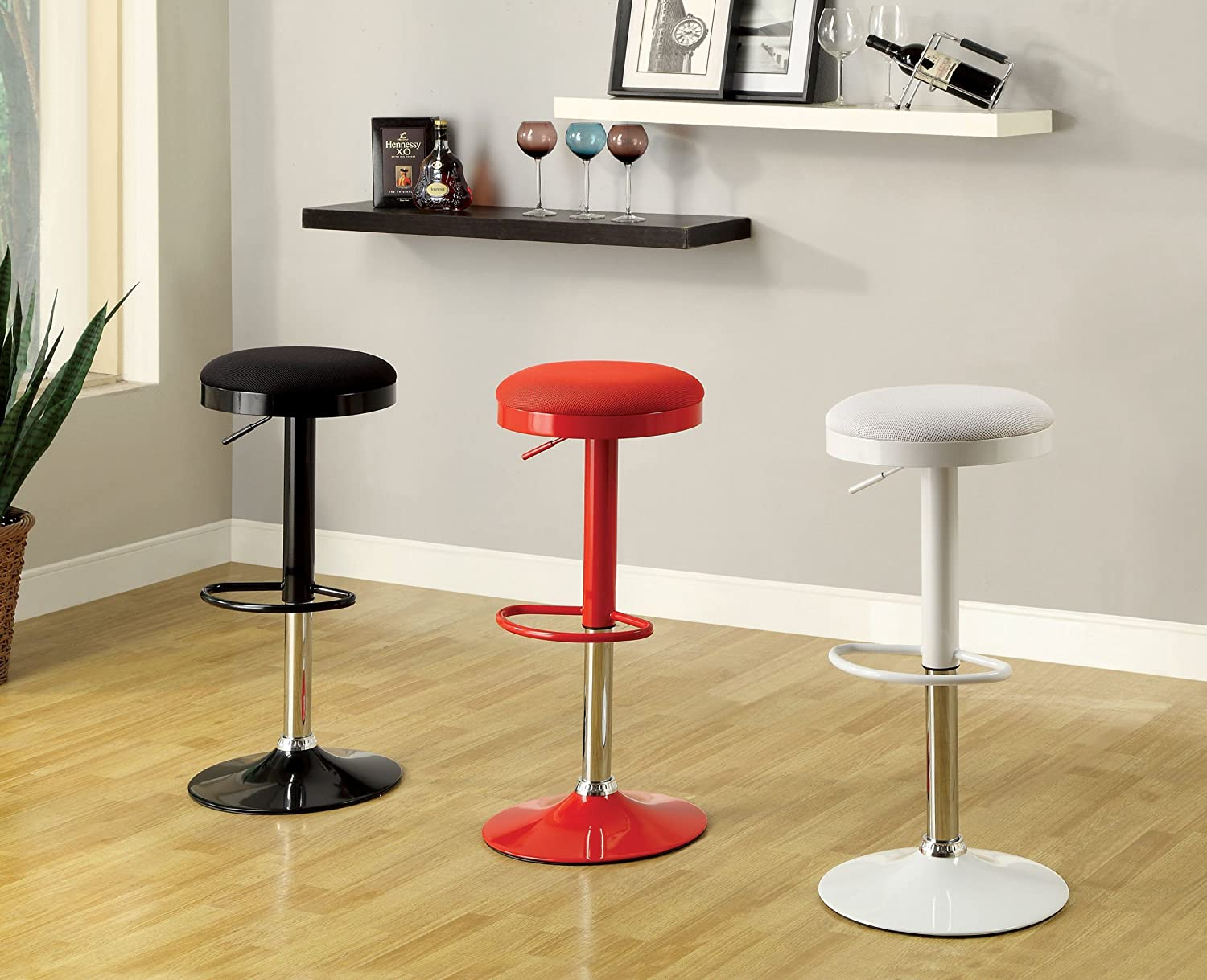 Furniture of America Bailey Mesh Top Swivel Backless Bar Stool, Red, Set of 2