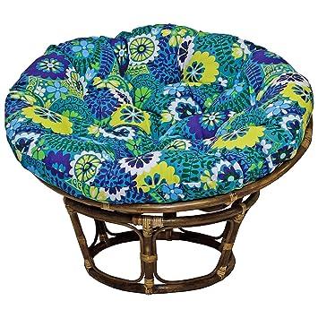 42 Inch Bali Rattan Papasan Chair With Cushion   Print Outdoor Fabric,  Luxury Azure