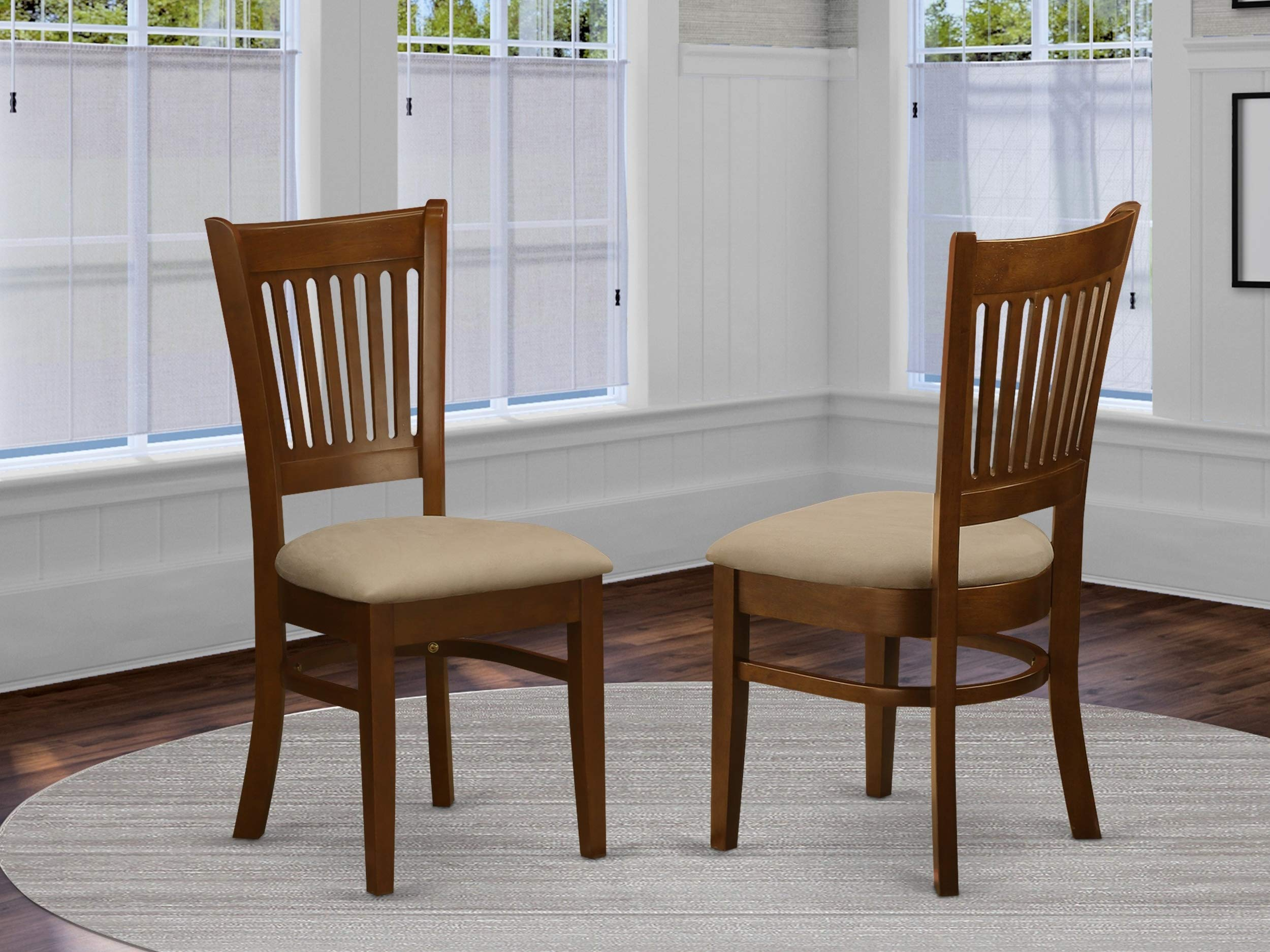 East West Furniture VAC-ESP-C Microfiber Upholstered Seat Chairs for Dining Room, Espresso Finish, Set of 2 by East West Furniture