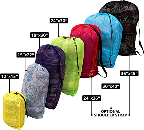 Diving 24 in x 36 in, Black Ventilated Washable Reusable for Laundry SGT KNOTS Mesh Medium 550 Paracord Drawstring Gym Swim Camping