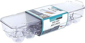 Kitchen Spaces KSEG12-AMZ Egg Tray 14pc Stackable Food Storage Organizer for Refrigerator, 14.5