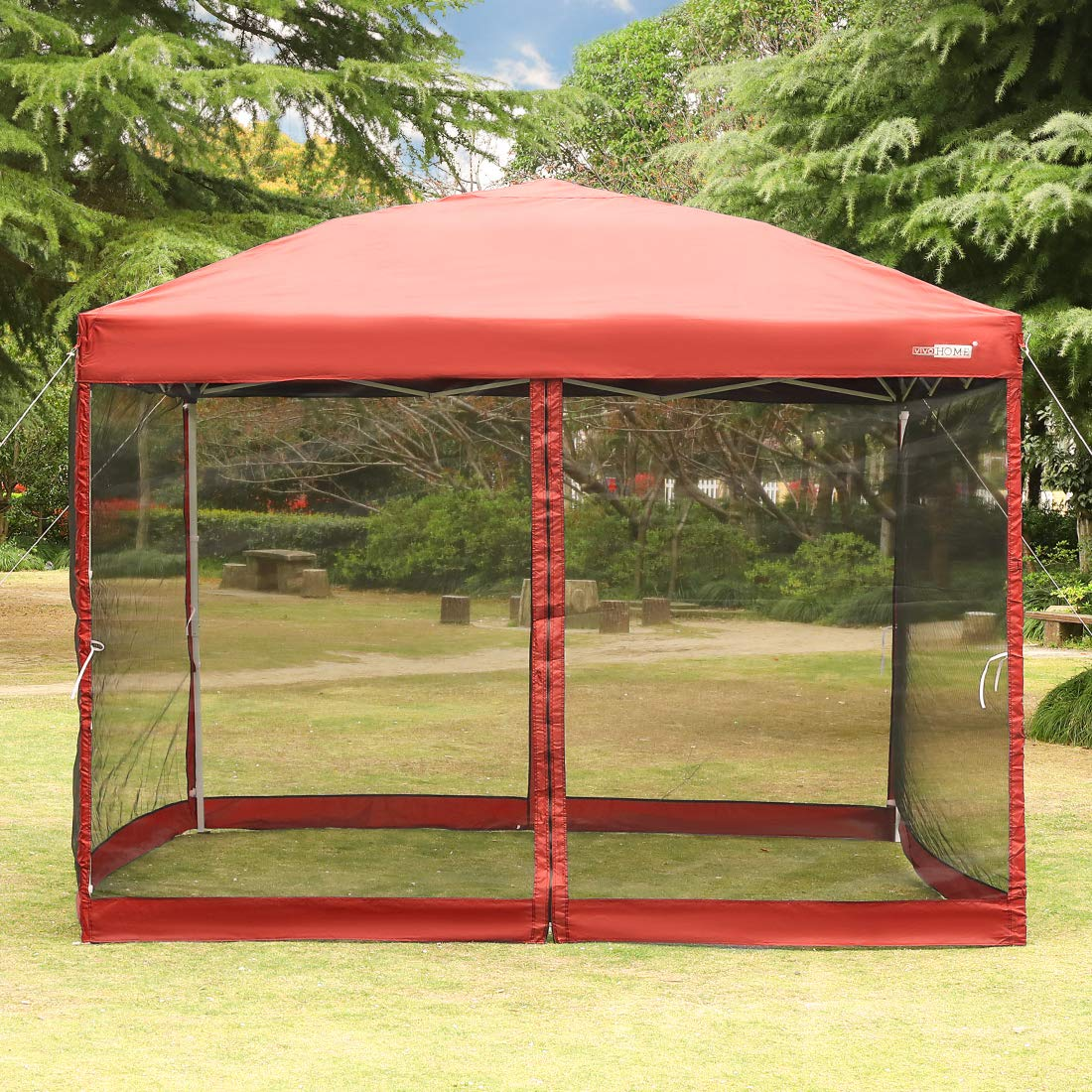 VIVOHOME 210D Oxford Outdoor Easy Pop Up Canopy Screen Party Tent with Mesh Side Walls Red 8 x 8 ft by VIVOHOME