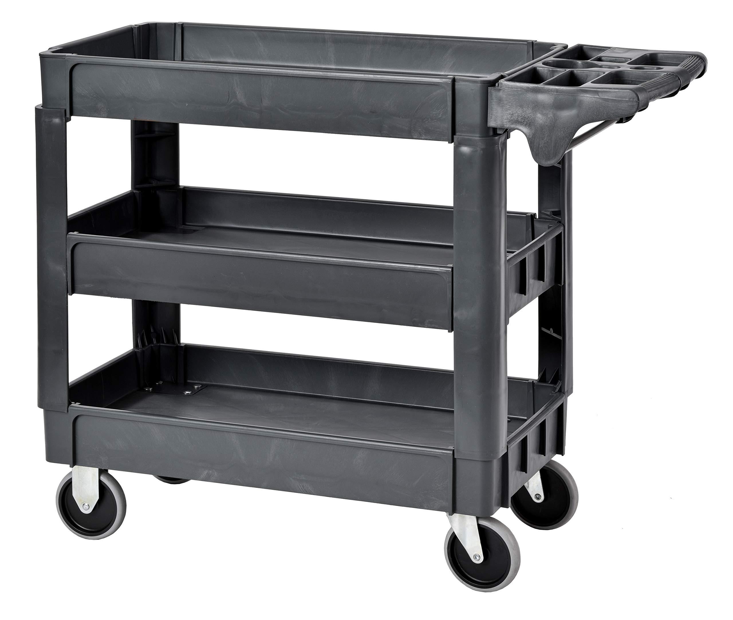 Sandusky PUC174033-3 Gray Heavy Duty Plastic Utility Cart, 3 Shelves, 40'' Height x 33'' Width x 17'' Depth