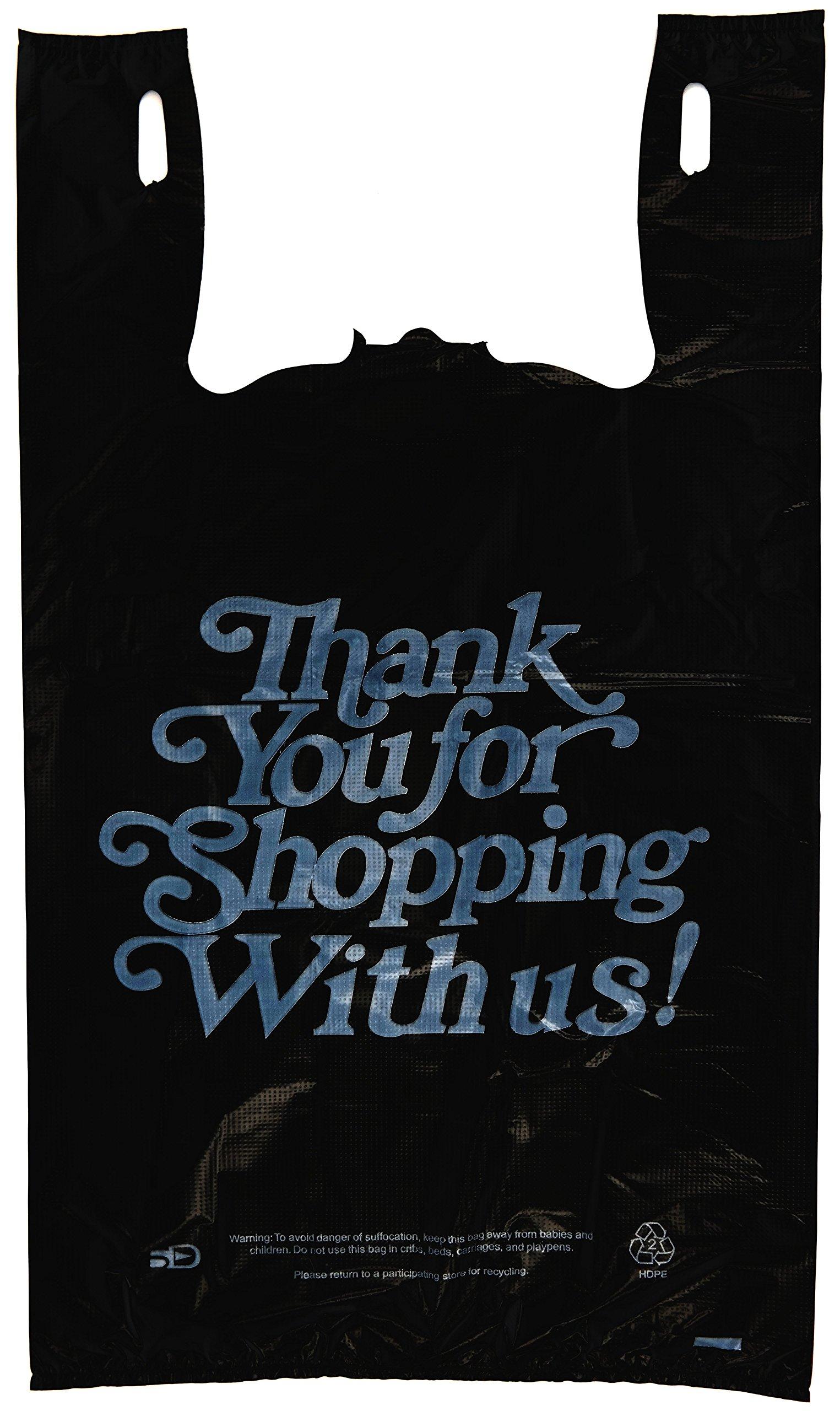Plastic Bag-Black T-shirt Bags- Heavy Duty Oversized Thank you Bag 13''x10''x23'' - 21 microns