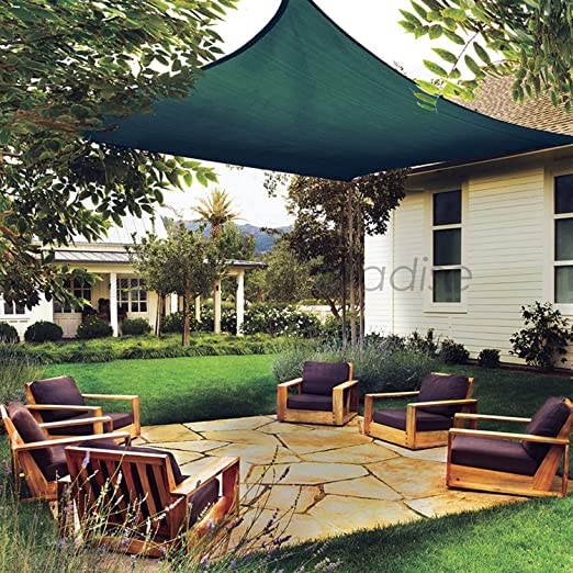 SUNDUXY Verde Toldo Vela de Sombra Triangular, 95% de protección Rayos UV, 185GSM HDPE, para Patio, jardín, pérgola, Patio Trasero (Kit de Montaje para Toldo),3x3x4.5m: Amazon.es: Hogar