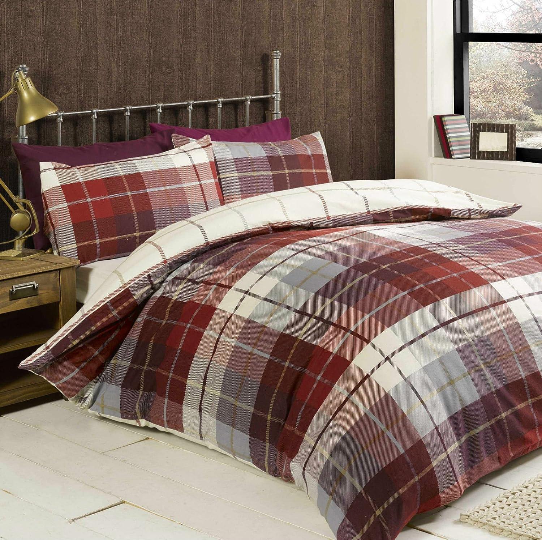 Grey White Duvet Cover Stripe Tartan Check Reversible Bedding Set Lewis Blue