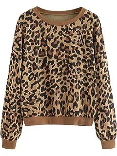 9bec23e0 SweatyRocks Women's Causal Sweatshirt Crew Neck Leopard Long Sleeve  Pullovers Shirt