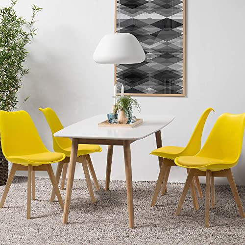 Furniwell Dining Chairs Mid Century Modern DSW Chair Upholstered Side Kitchen Chair