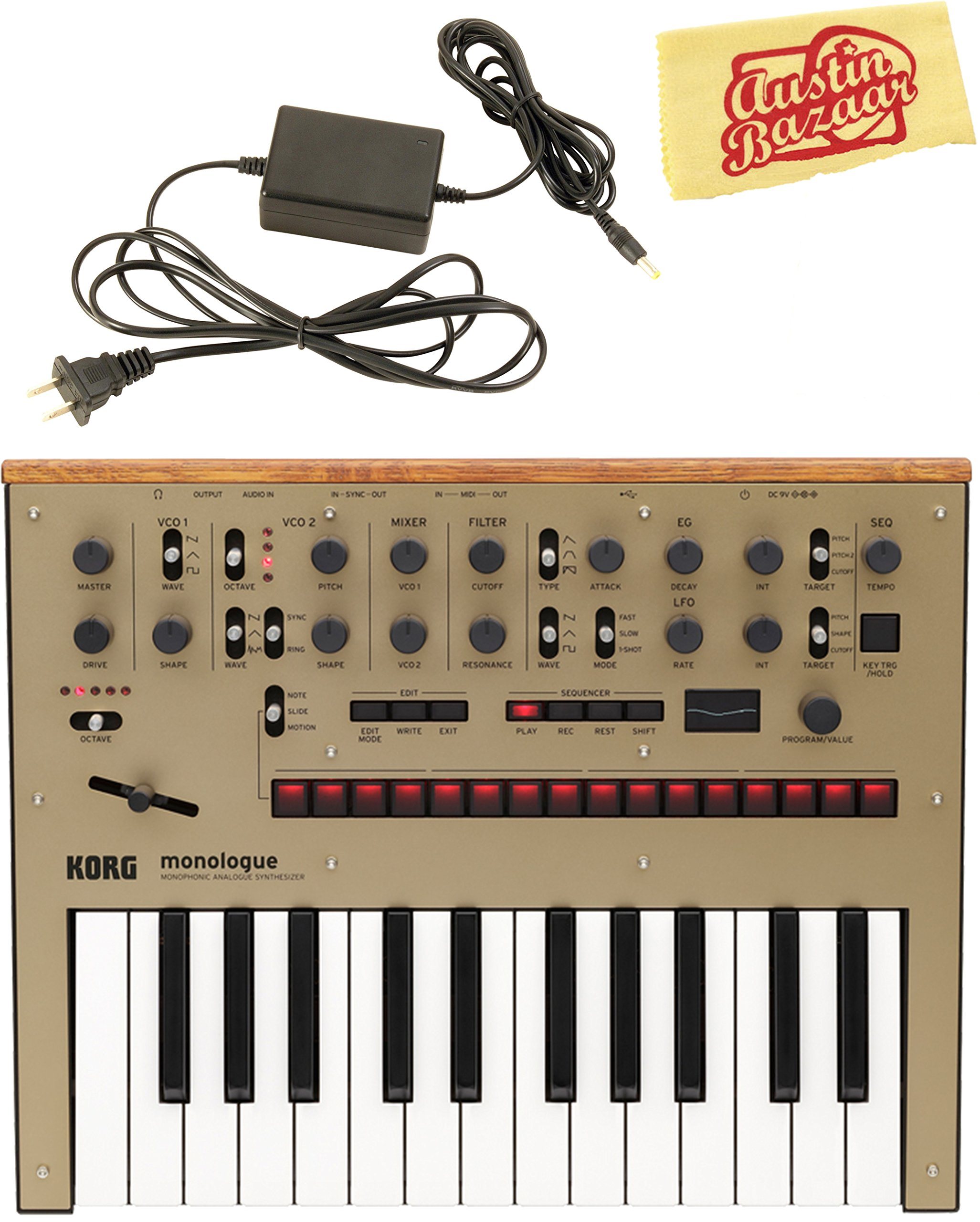 Korg Monologue Monophonic Analog Synthesizer - Gold Bundle with Power Supply and Austin Bazaar Polishing Cloth
