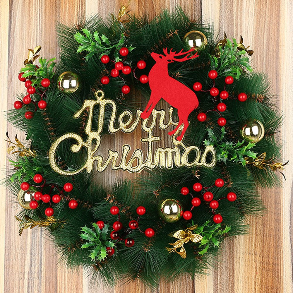 35cm Elk Christmas Wreath Garland Ornaments Arcades Hotel Christmas Decorations