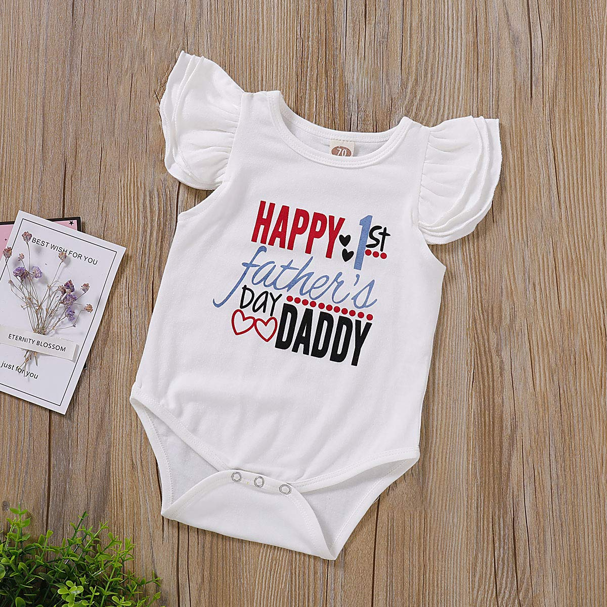 Xiao Reddou Infant Summer Romper Baby Girls Happy 1st Fathers Day Fly Sleeve Bodysuit