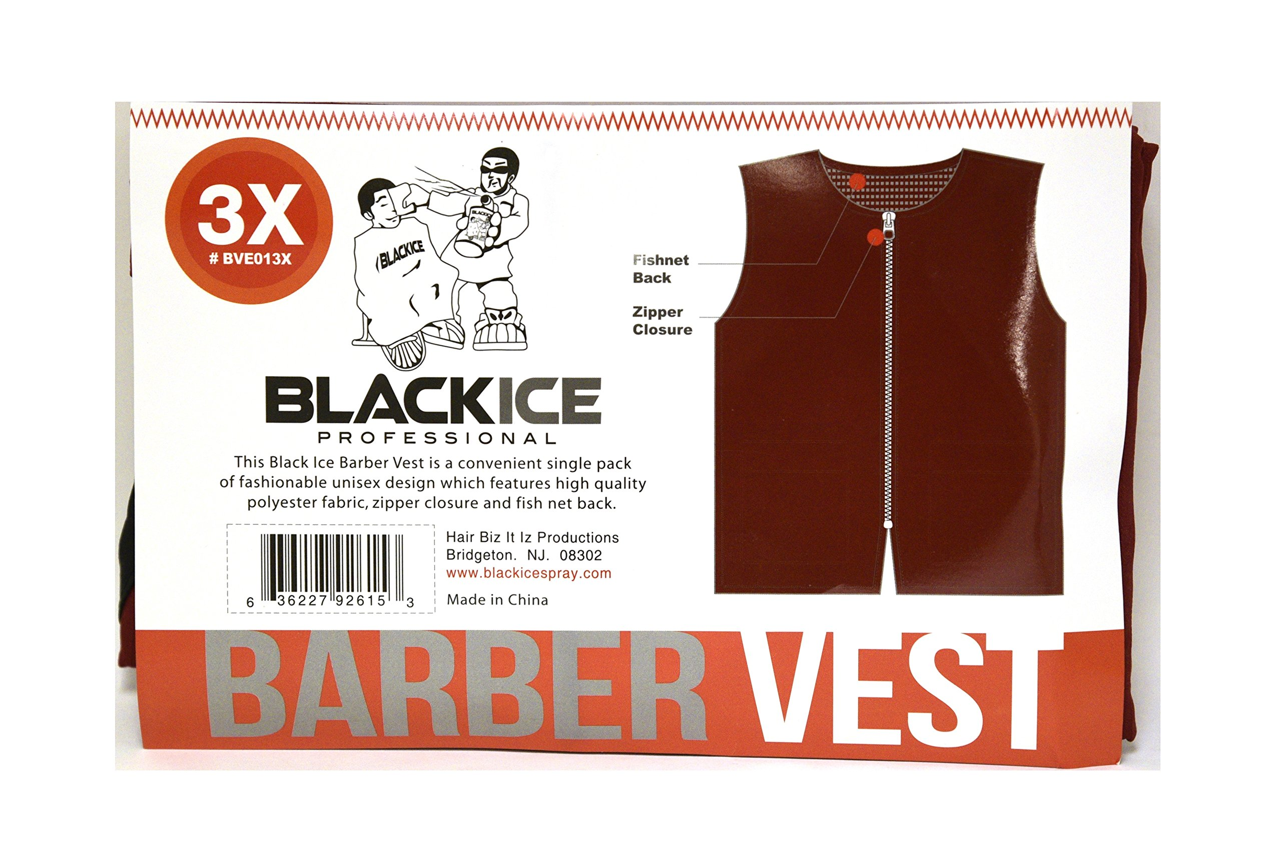 Black Ice Barber Vest Size 3XLarge BURGUNDY Professional polyester fabric with zipper closure …