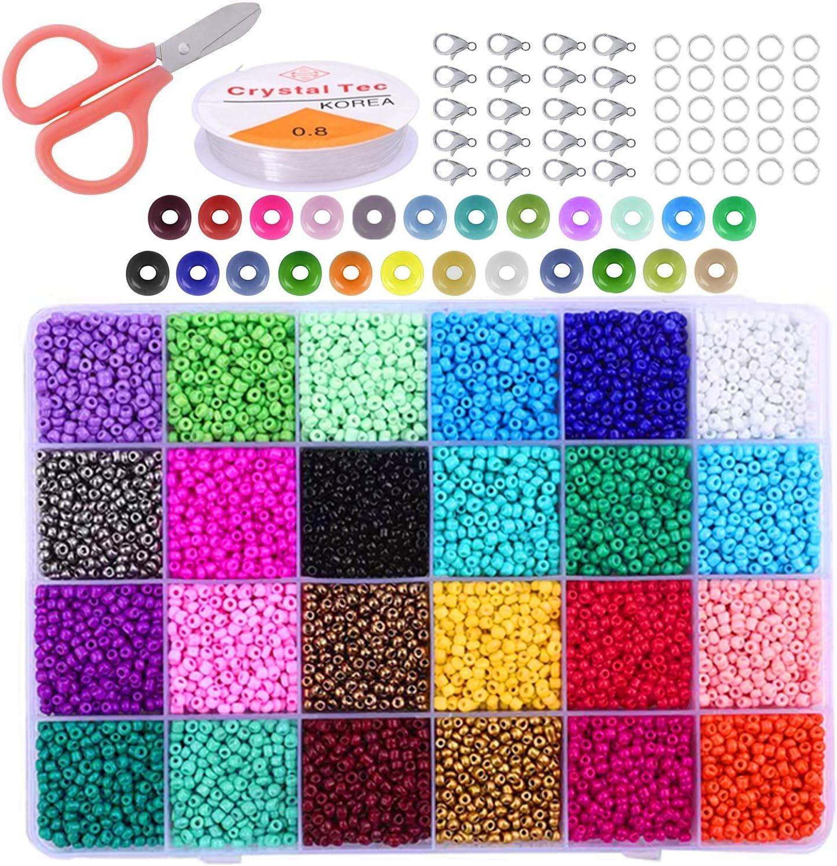 Cuentas de Colores 2mm Mini Cuentas de Cristal 24000 Piezas para DIY Arte y Joyería-Making Pulseras Collares Bisutería (24 Colores)