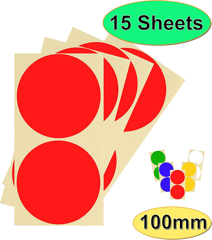 rotondi a scelta di 12 colori colorati 15 fogli di adesivi di alta qualit/à bianco Confezione da 30 x 100 mm facili da staccare 10 cm autoadesivi per calendari colorati