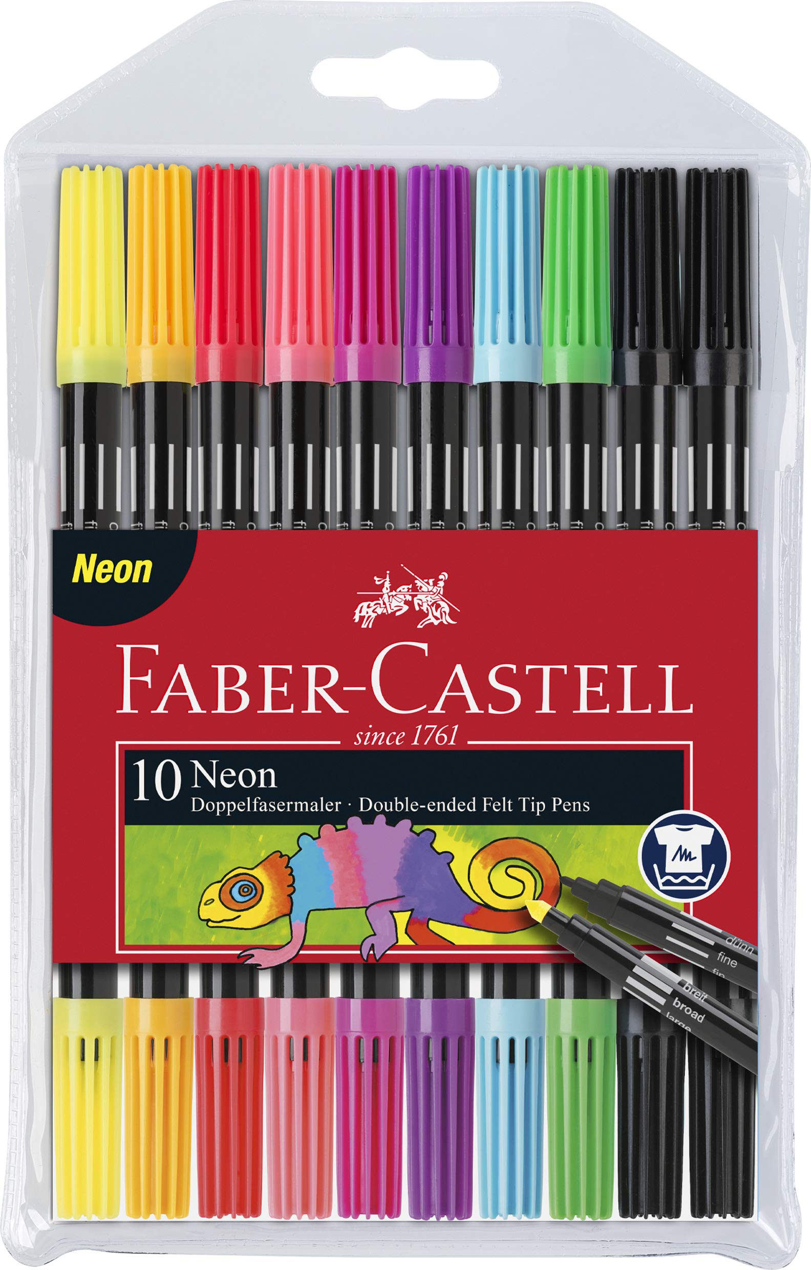 Faber-Castell Neon Double-Ended Felt Tip Pens - Set of 10