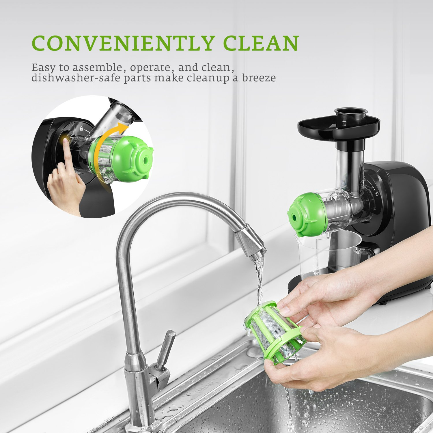 Juicer Masticating Slow Juicer Extractor, Aicok Juice Quiet Motor & Reverse Function, BPA Free, Cold Press Juicer Easy to Clean with Brush, Juice Machine Recipes for Vegetables and Fruits by AICOK (Image #6)