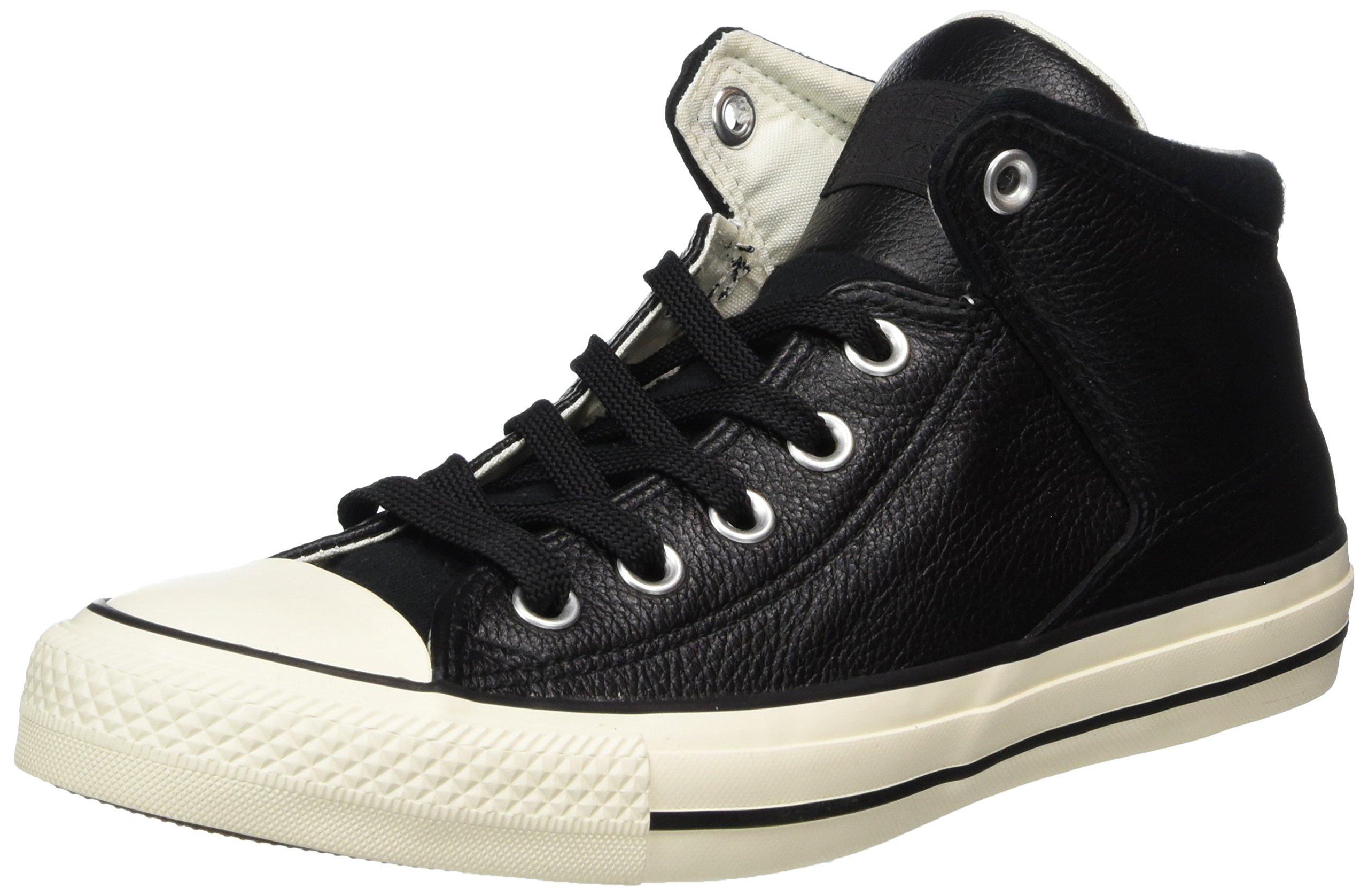 1d2756aa30d5 Galleon - Converse Mens Chuck Taylor All Star Street Hi - Tumbled Leather  Black Black Egret Sneaker - 9 Men - 11 Women