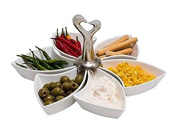 Juego de platos giratorios Lazy Susan de cerámica para servir aperitivos y servir en el centro de la mesa, ideal para ensaladas y salsas, impresionante y ...