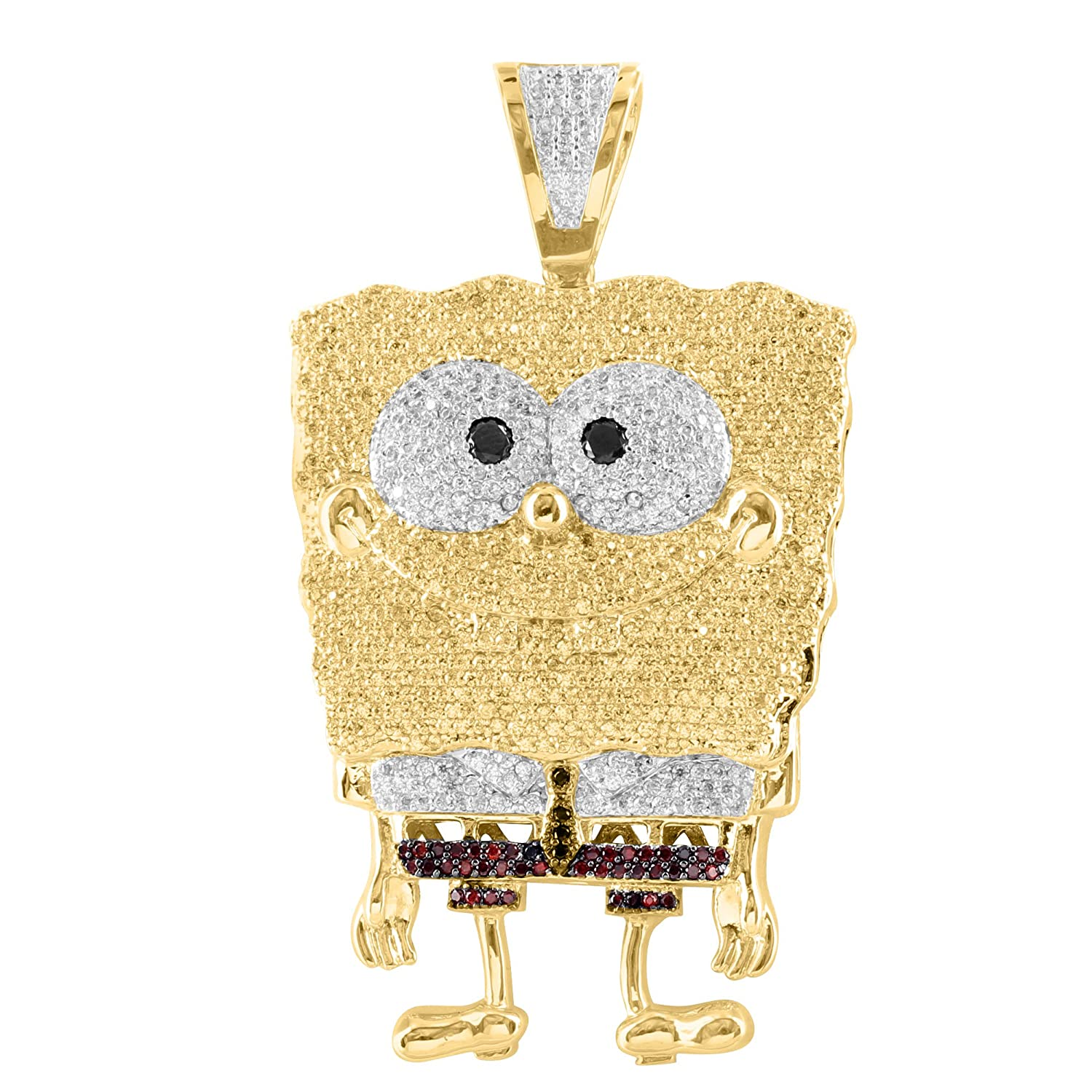 diamond finish character lab dp new pave com cartoon out iced flexing amazon pendant gold