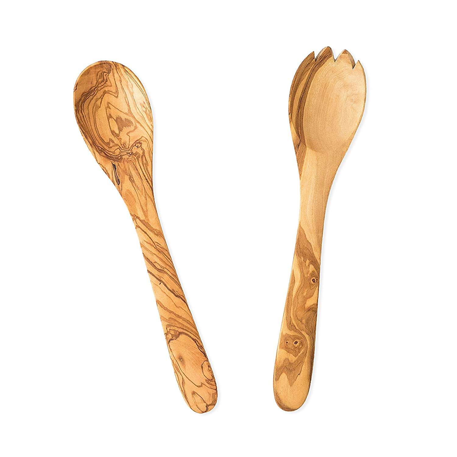 Ilyas Bazaar Olive Wood 2-Piece Wooden Salad Server Set - A striking presentation for tossed greens, fresh pastas, side dishes - Includes spoon and fork - Handcrafted in Tunisia, each piece is unique