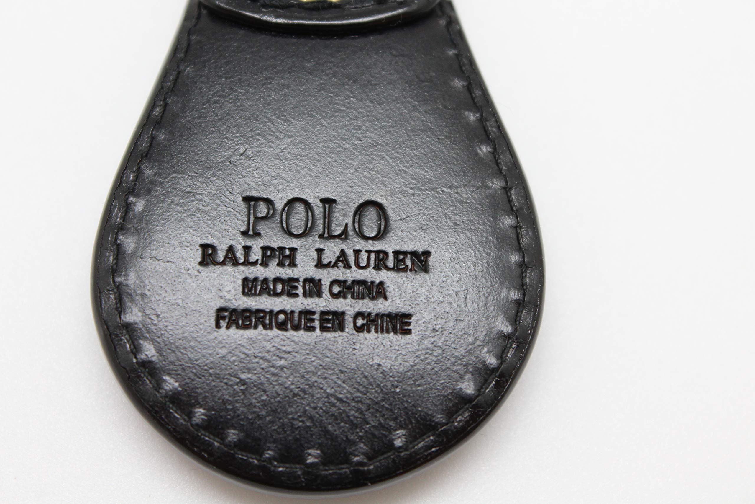 Polo Keychain Key Ring Fob Black Embossed Leather by Ralph Lauren