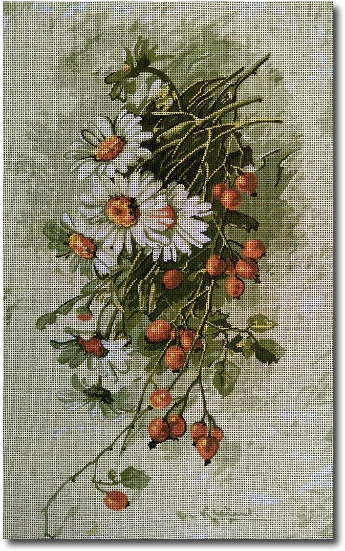 25x40cm Printed Canvas 547 hudemas Needlepoint Kit Flowers 9.8x15.7