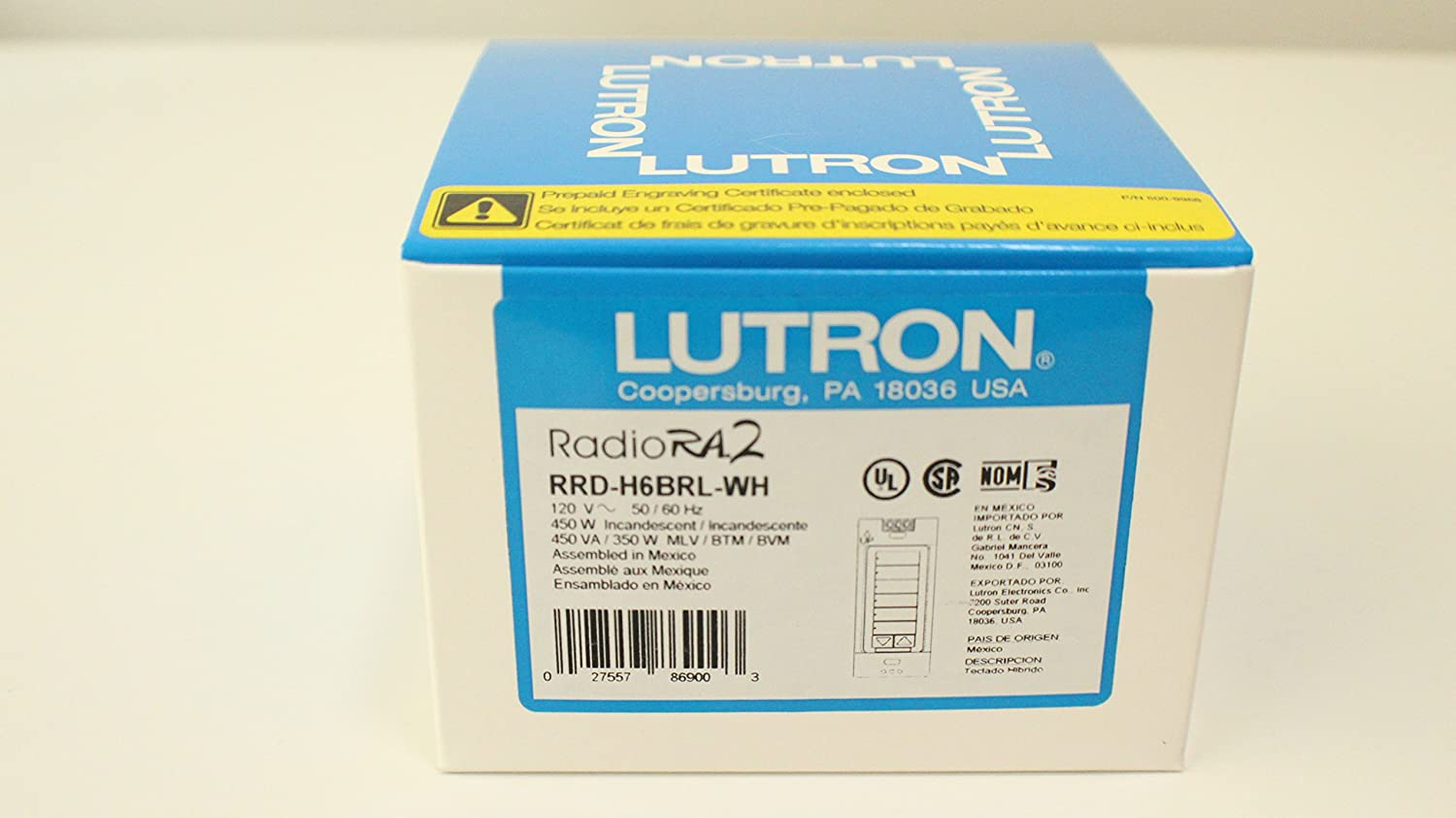 Amazon.com : Lutron RRD-H6BRL-WH Radiora2 Neutral Wire Dimmer Hybrid ...