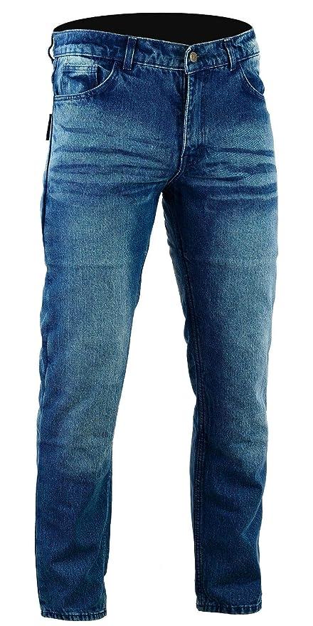 Bikers Gear Australia Kevlar Lined – Pantalones vaqueros para motorista CE protección, Azul (Stone Wash Denim), tamaño 32R