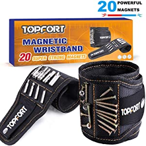 TOPFORT Wearable Magnetic Wristband with 20 Strong Magnets for Holding Screws, Nails, Drill Bits - Best Father's Day Gift for Men, DIY Handyman, Father/Dad, Husband, Boyfriend, Women (Black)