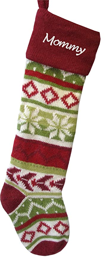 wool christmas stockings red cuff hand knitted personalized free
