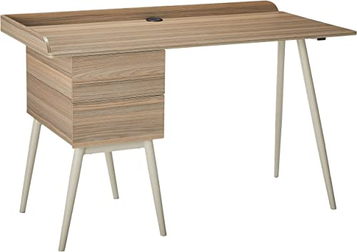 Techni Mobili Modern Desk with Drawers, Natural,