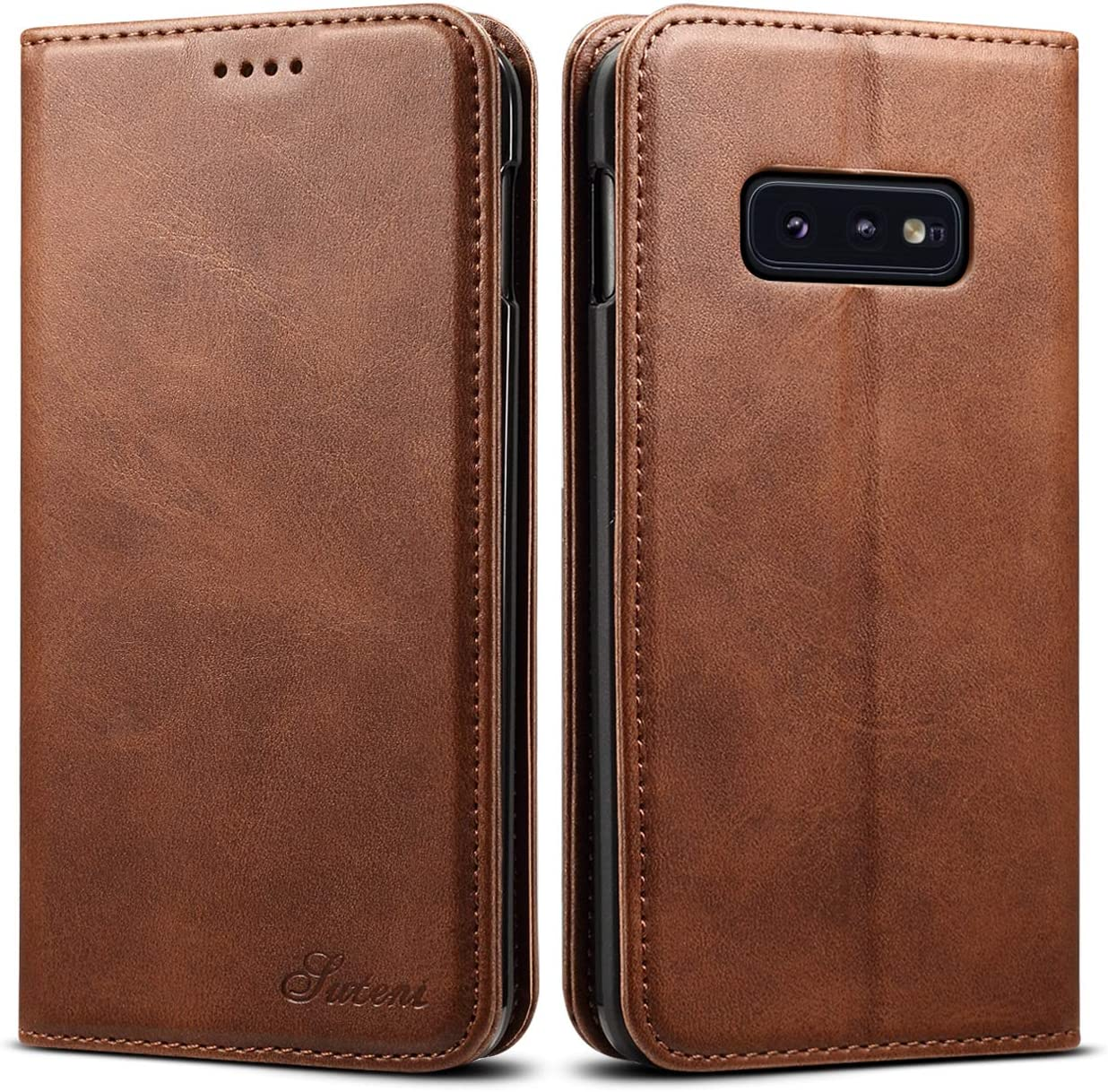 Galaxy S10e Leather Wallet Case, Bpowe Ultra Slim Business Style Folding Flip Case with Kickstand Card Slots Magnetic Stand Protective Case Cover for Samsung Galaxy S10e (Brown)