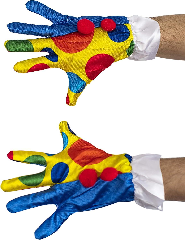 dressmeup K0807 Handschuhe Karneval Fasching Clown Bunt Punkte Herren Damen