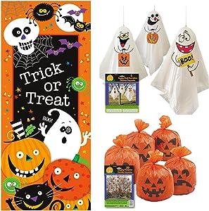 Outdoor Halloween Decor Set - Door Poster, Pumpkin Leaf Bags, Hanging Ghost Decorations