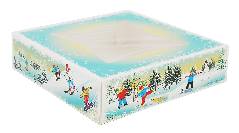 Southern Champion Tray 2497 Paperboard Winter Wonderland Print Window Bakery Box, 10