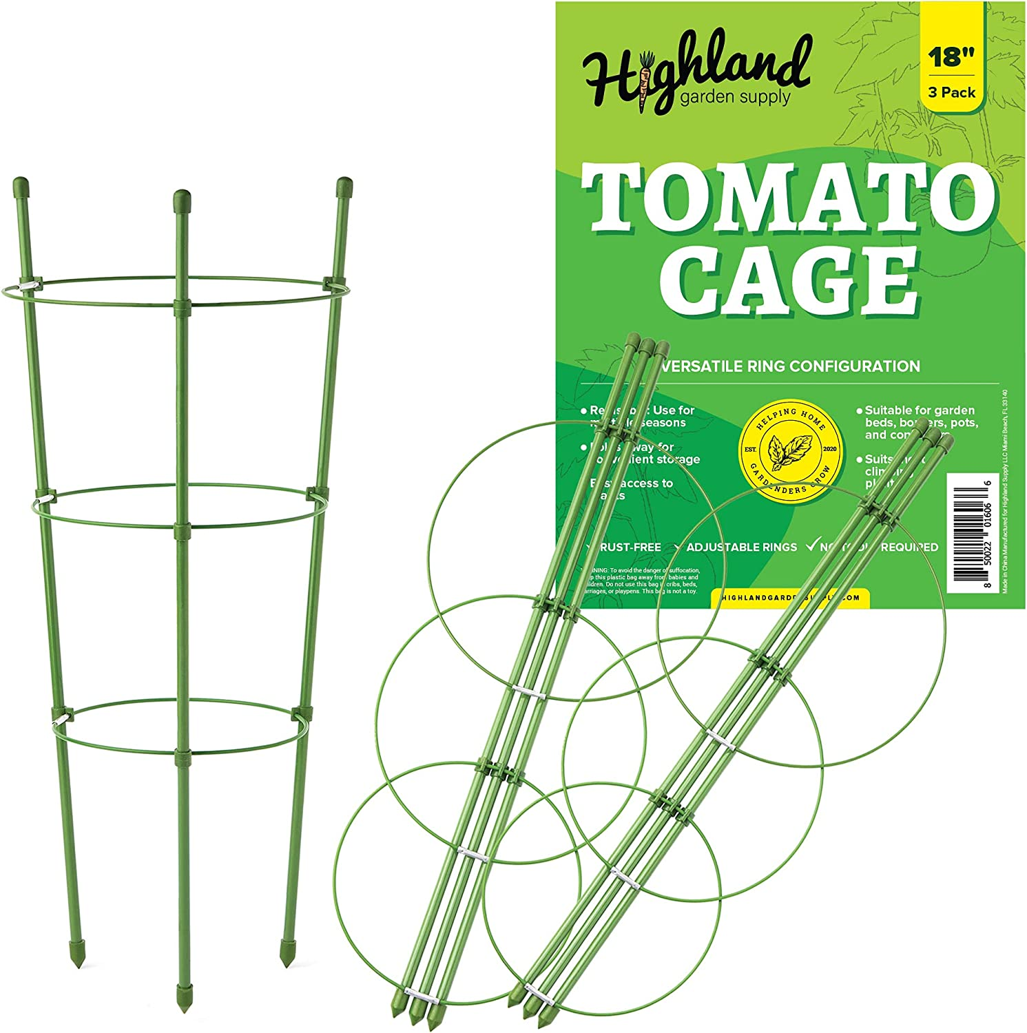 3 Pack Tomato Plant Support Garden Cage for Vegetables Climbing Plants Cucumbers Peony (18