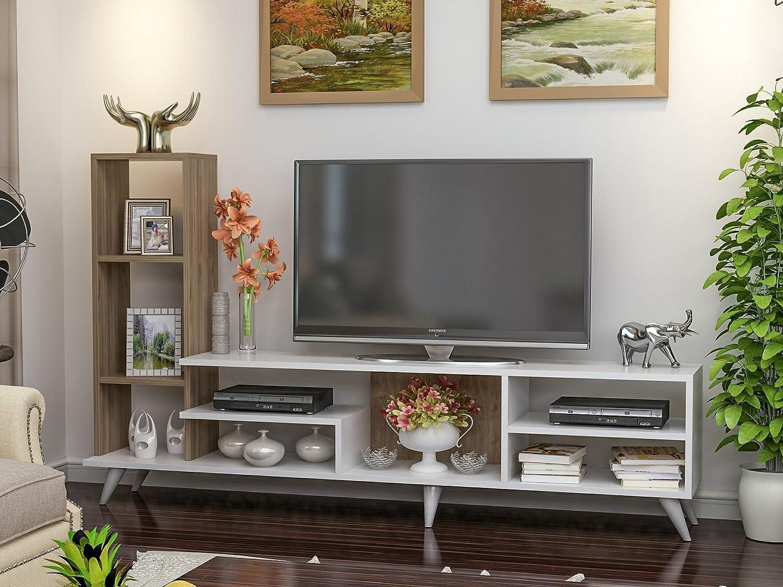 LaModaHome TV - Mueble de Escritorio para casa, Oficina, Sala de Estar, Color Blanco y Madera: Amazon.es: Hogar